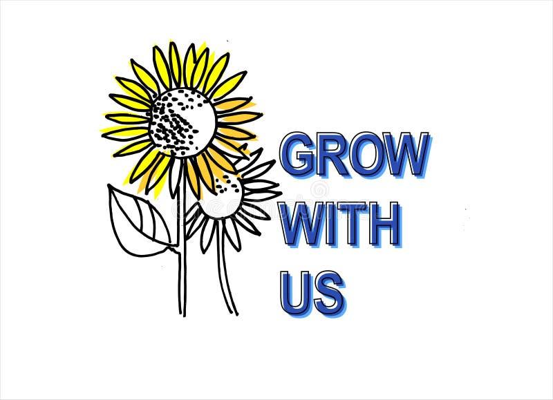 增长与我们 补充,teambuilding和个人发展概念 手拉的向日葵和字法 库存例证