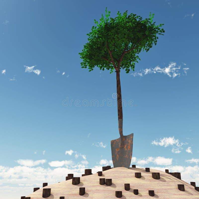 增长把柄偏僻的锹结构树 向量例证