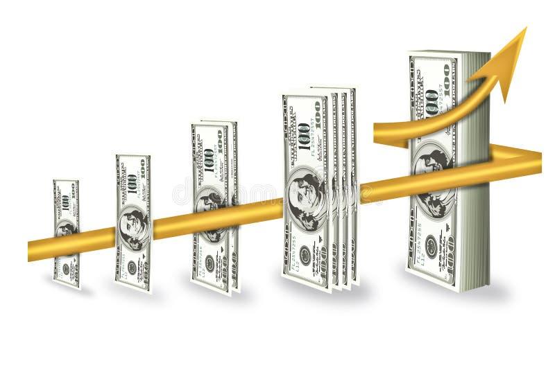 增长更高的货币 向量例证