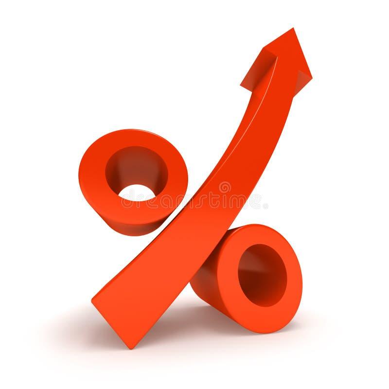 增长百分率符号 库存例证