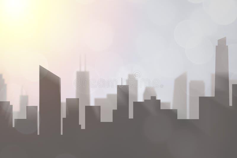 增长的人口和市政规划 高层都市发展和地平线与太阳在晚上与copyspace文本的 修造 皇族释放例证