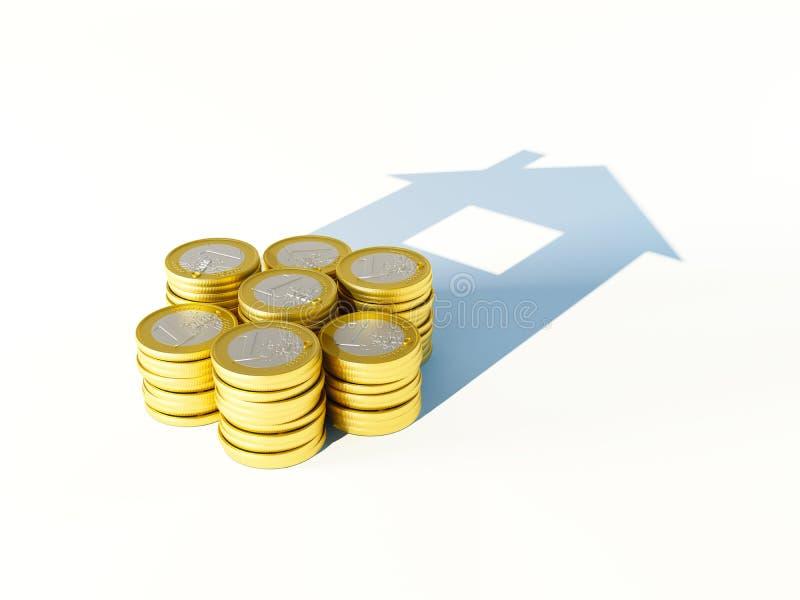 增长的堆财务和开户的概念硬币 皇族释放例证