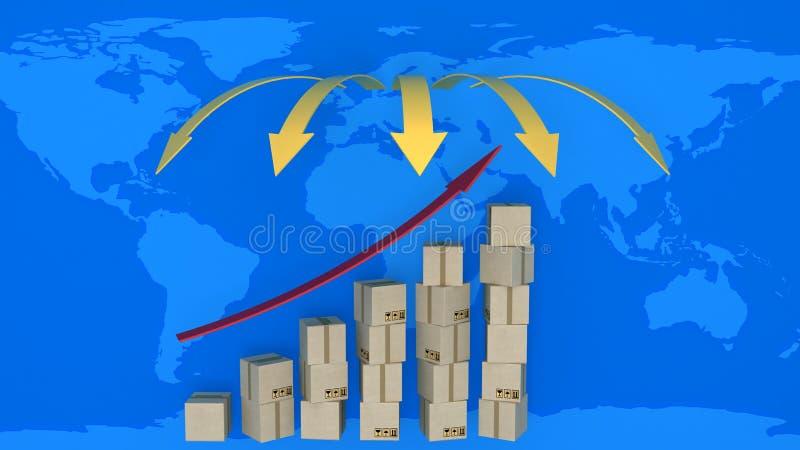 增长的导出绘制在世界贸易的 皇族释放例证