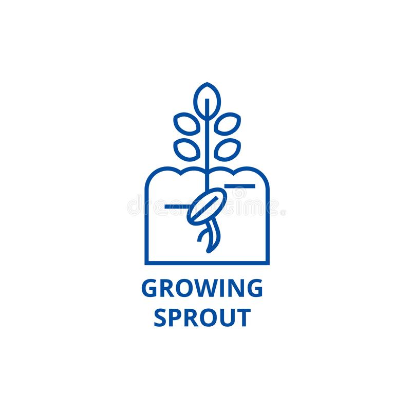 增长的新芽线象概念 增长的新芽平的传染媒介标志,标志,概述例证 皇族释放例证
