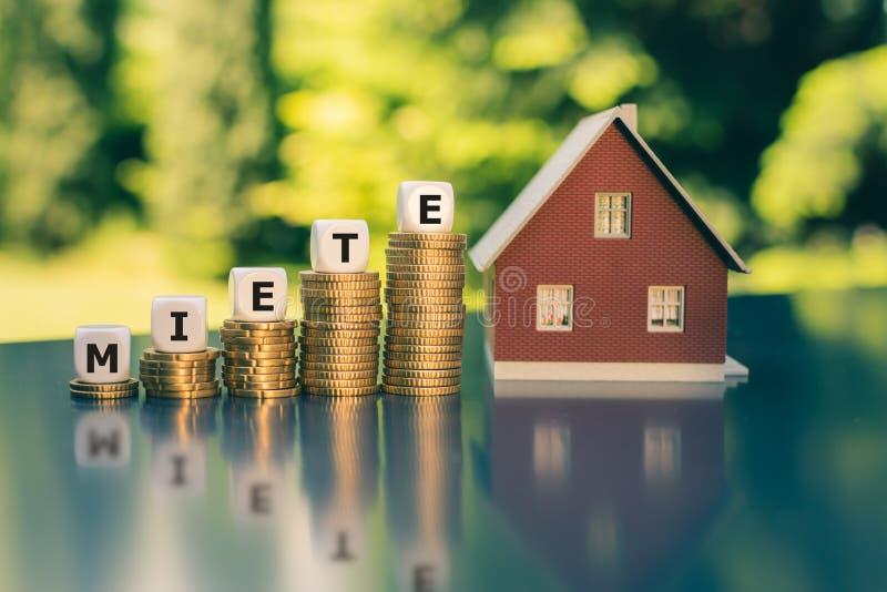 增长的租的概念 在堆安置的模子硬币形成德国词'miete '租'用英语 免版税库存照片