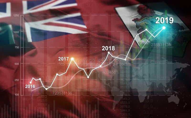 增长的统计财政2019年反对百慕大旗子 皇族释放例证