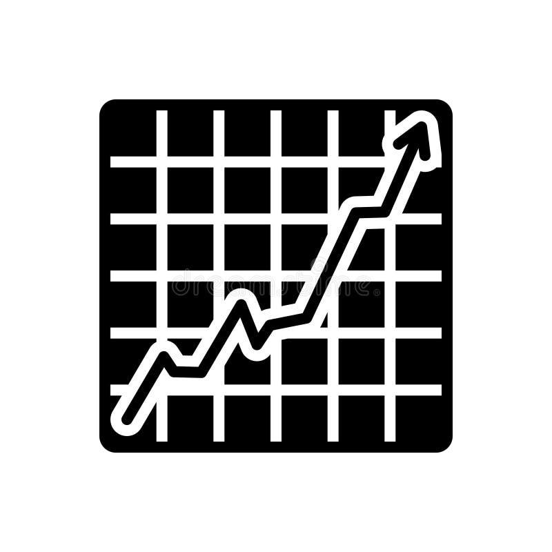 增长的股票图表、图和增量的黑坚实象 库存例证