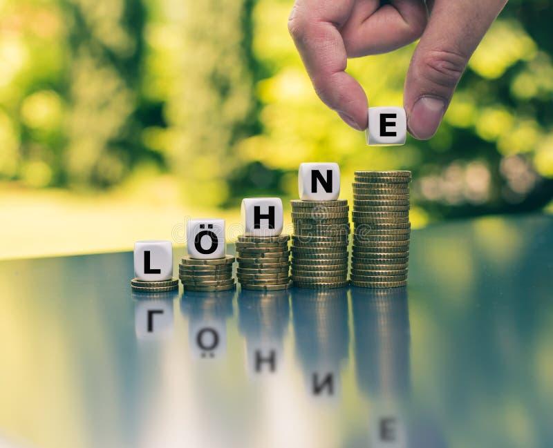 增长的薪水的概念 模子形成德国词'Loehne '薪水的用英语在增加高堆顶部硬币 图库摄影