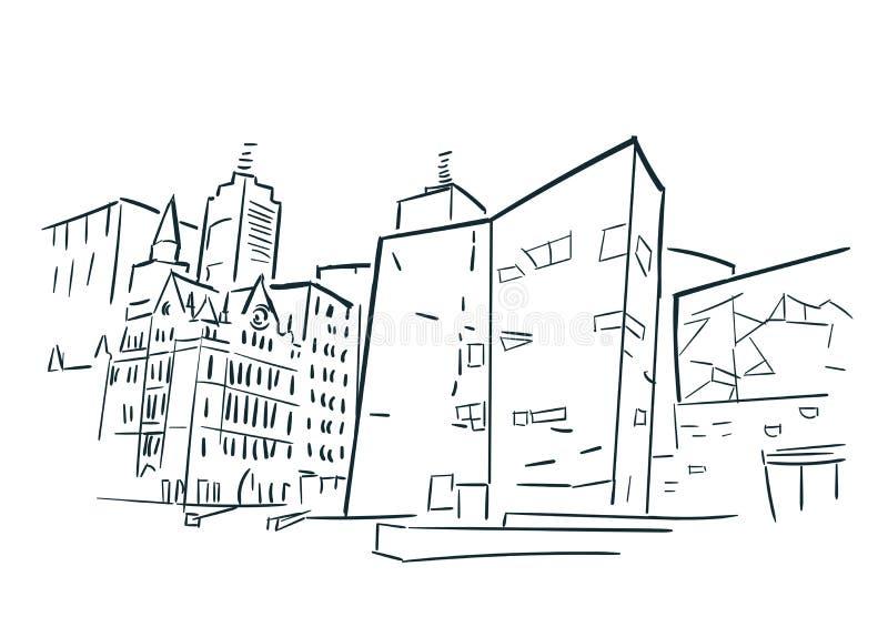墨尔本澳大利亚剪影传染媒介城市剪贴美术 库存例证