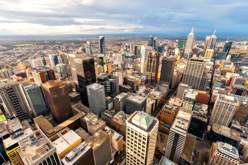 墨尔本的从高峰的市中心全景  澳洲 库存图片