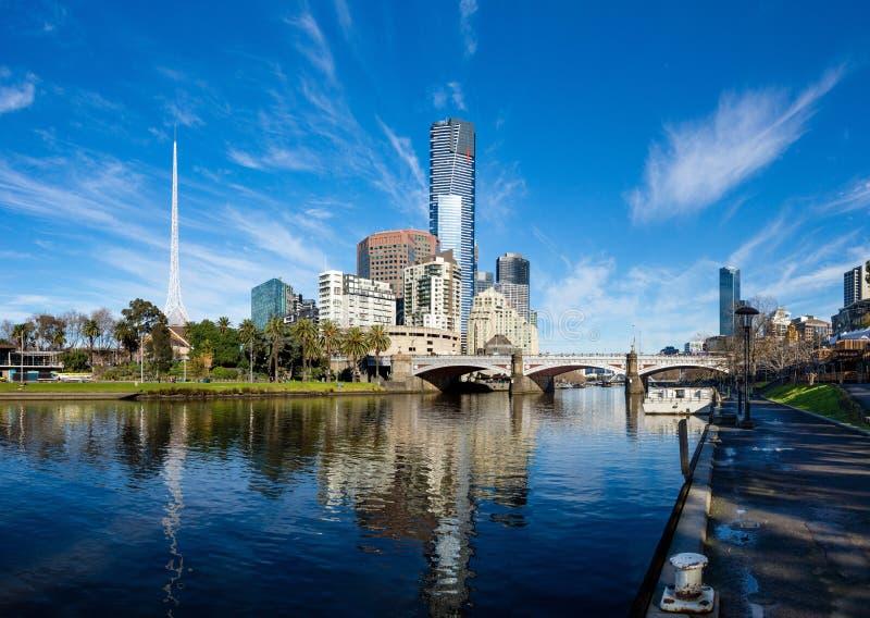 墨尔本的CBD雅拉河和southbank  库存图片