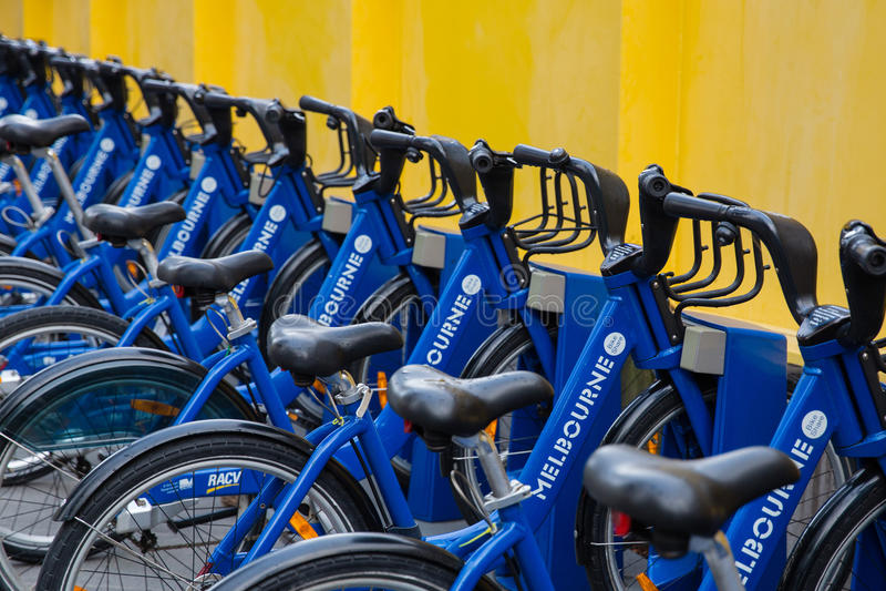 墨尔本自行车份额 库存照片