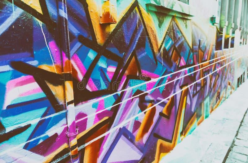 墨尔本,澳大利亚, - 2015年10月:由单的五颜六色的街道艺术 库存图片