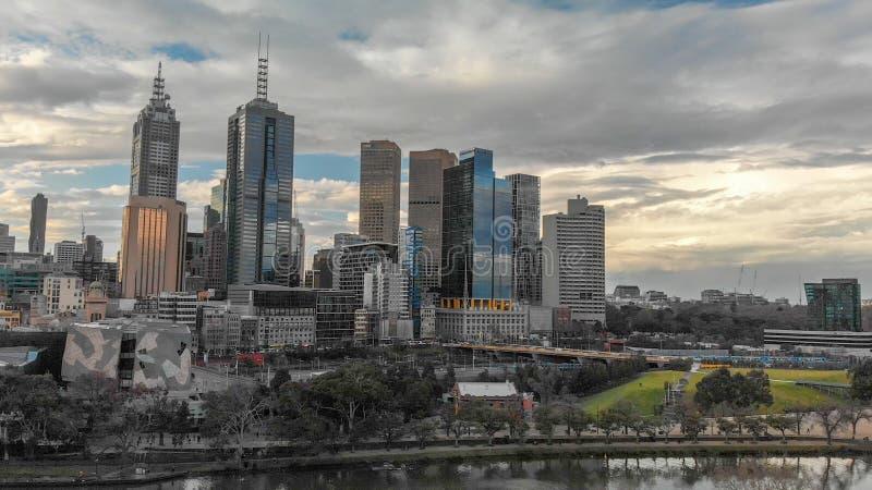 墨尔本,澳大利亚- 2018年9月6日:citysca鸟瞰图  库存图片