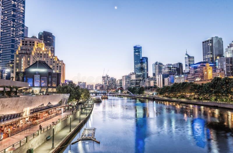 墨尔本,维多利亚-澳大利亚 美好的城市地平线 免版税库存图片
