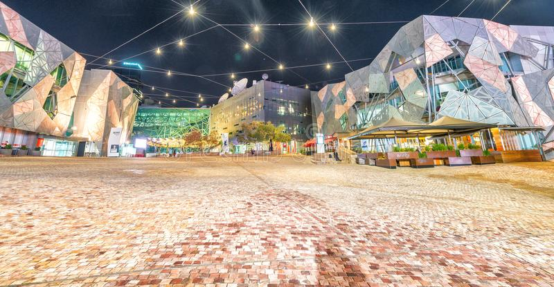 墨尔本- 2015年10月:在联盟正方形的城市建筑学 库存照片