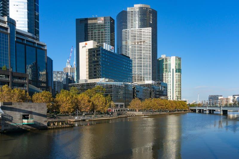 墨尔本Southbank都市风景和亚拉河 库存图片