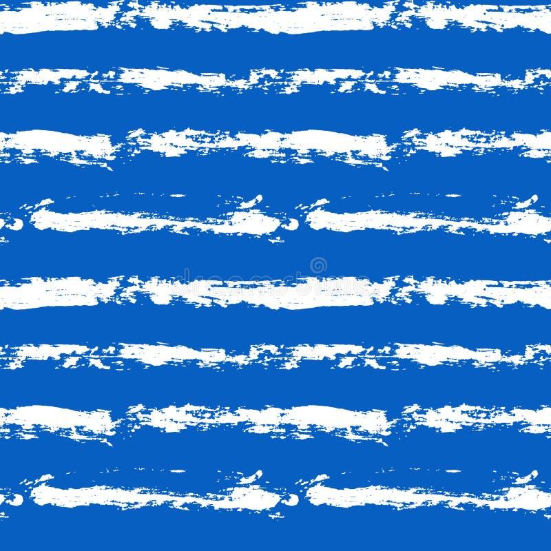 墨水传染媒介刷子冲程无缝的样式 蓝色和白色传染媒介例证 Grunge?? 向量例证