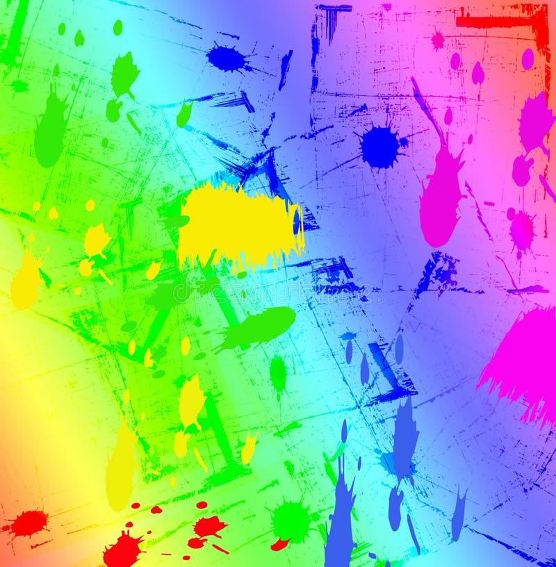 墨水彩虹泼溅物 库存例证