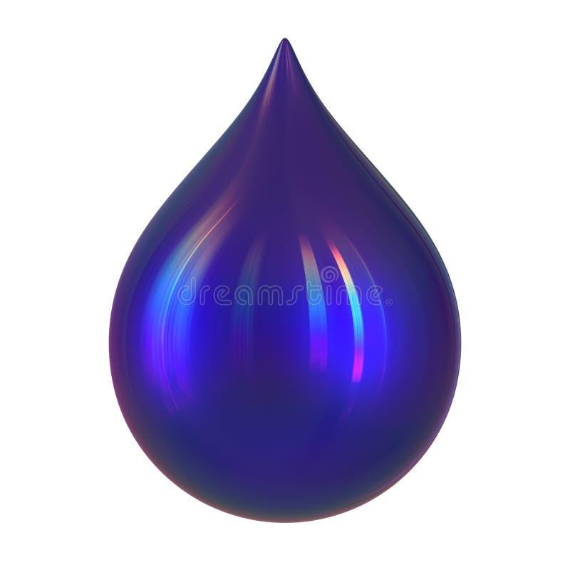 墨水摘要蓝色光滑的油漆染料小滴形式特写镜头下落  皇族释放例证