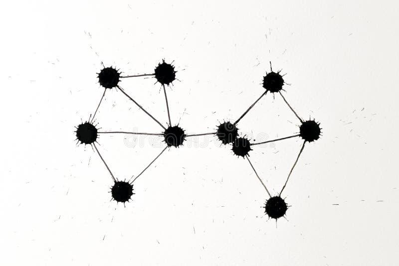 墨水斑点网络图表 免版税库存照片