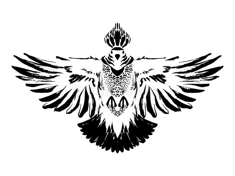 墨水绘的手拉的黑风格化鸽子 鸠鸟 难看的东西样式 也corel凹道例证向量 向量例证