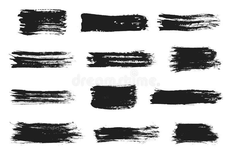 墨水被设置的刷子冲程 与难看的东西纹理冲程的丙烯酸漆 肮脏的贷方斑点 向量例证