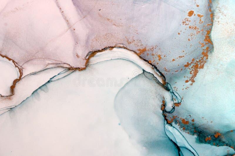 墨水,油漆,抽象 绘画的特写镜头 五颜六色的抽象绘画背景 高织地不很细油漆 优质deta 皇族释放例证