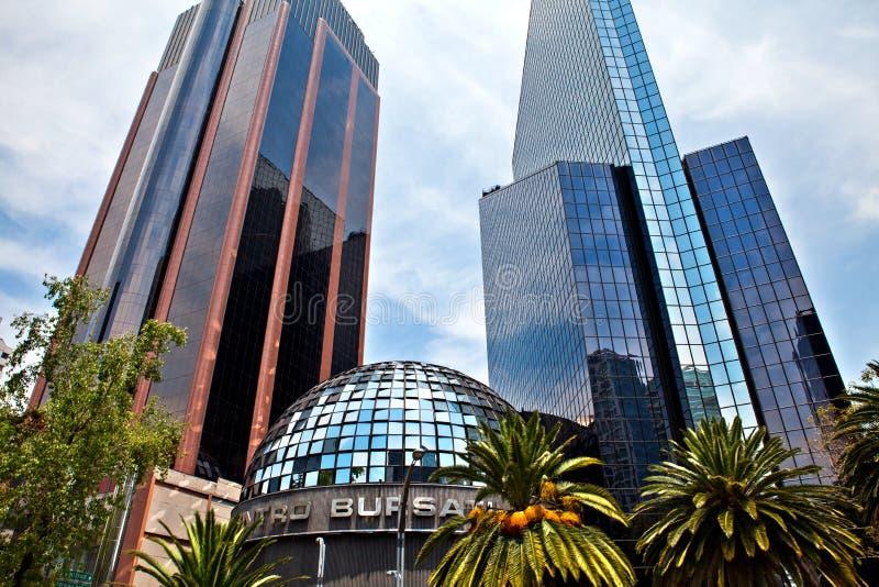 墨西哥人联交所大厦在墨西哥城,墨西哥 图库摄影