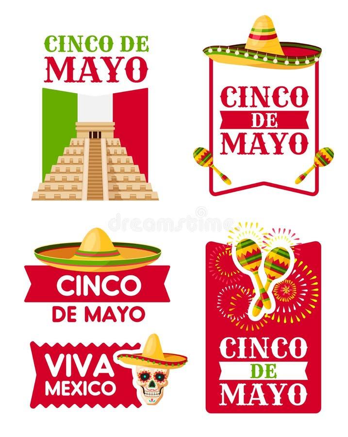 墨西哥人阔边帽, maracas Cinco de马约角徽章  向量例证