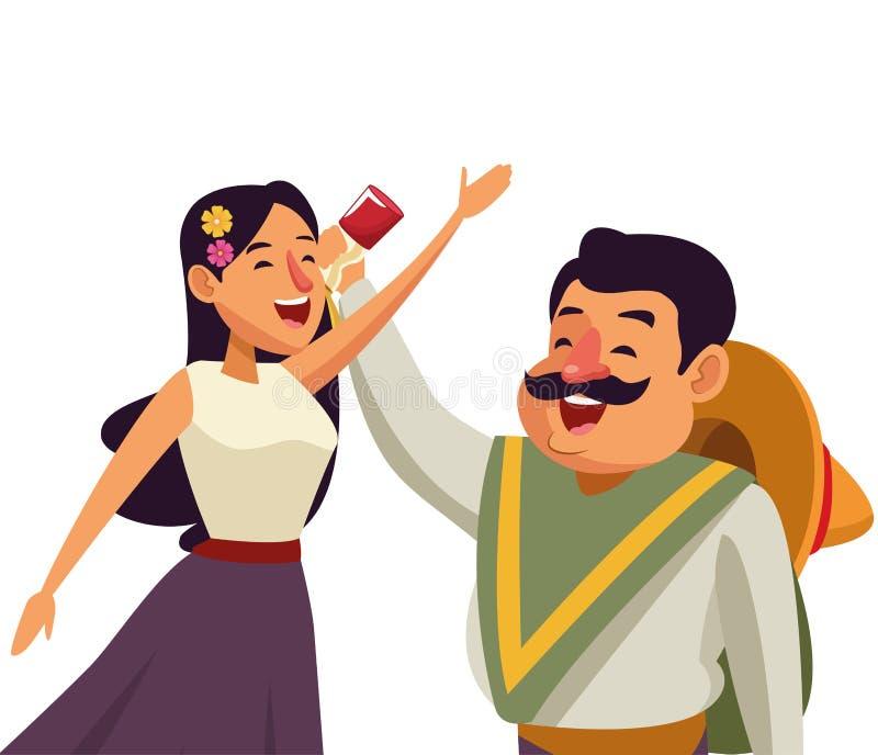 墨西哥传统文化象动画片 皇族释放例证