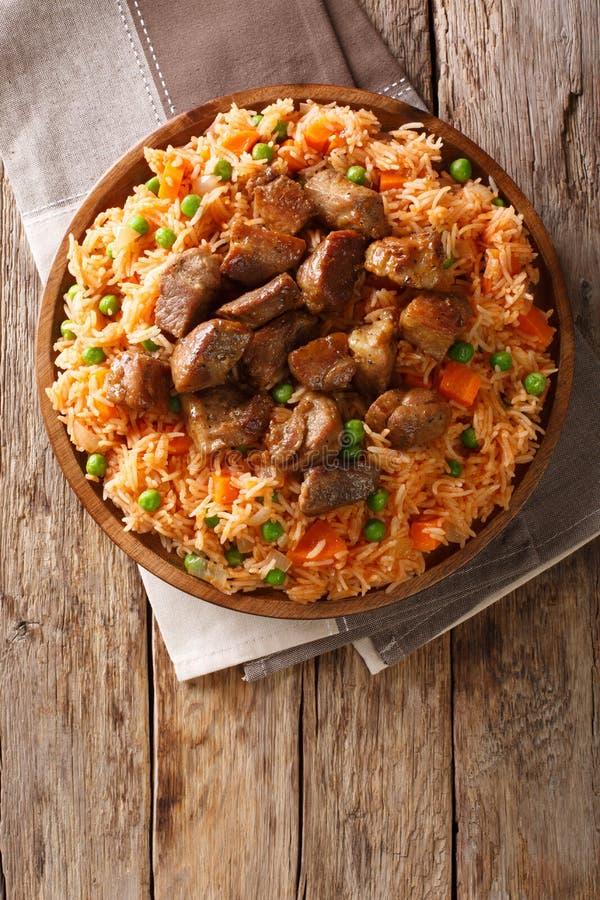 墨西哥传统食物:米烹调用蕃茄,绿豆 免版税库存图片