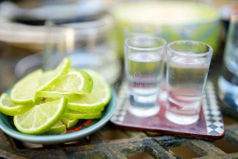 墨西哥传统饮料伴随于石灰和盐 免版税库存图片