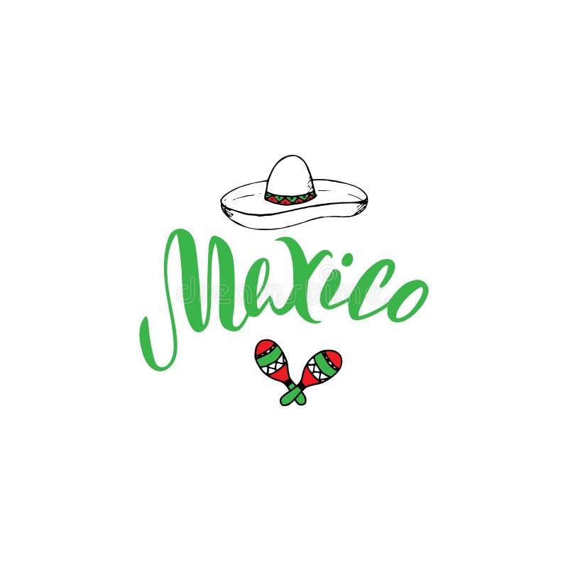 墨西哥印刷术文本设计模板 旅游业网站或小册子横幅 T恤杉的,贴纸,磁铁,明信片设计印刷品 向量例证