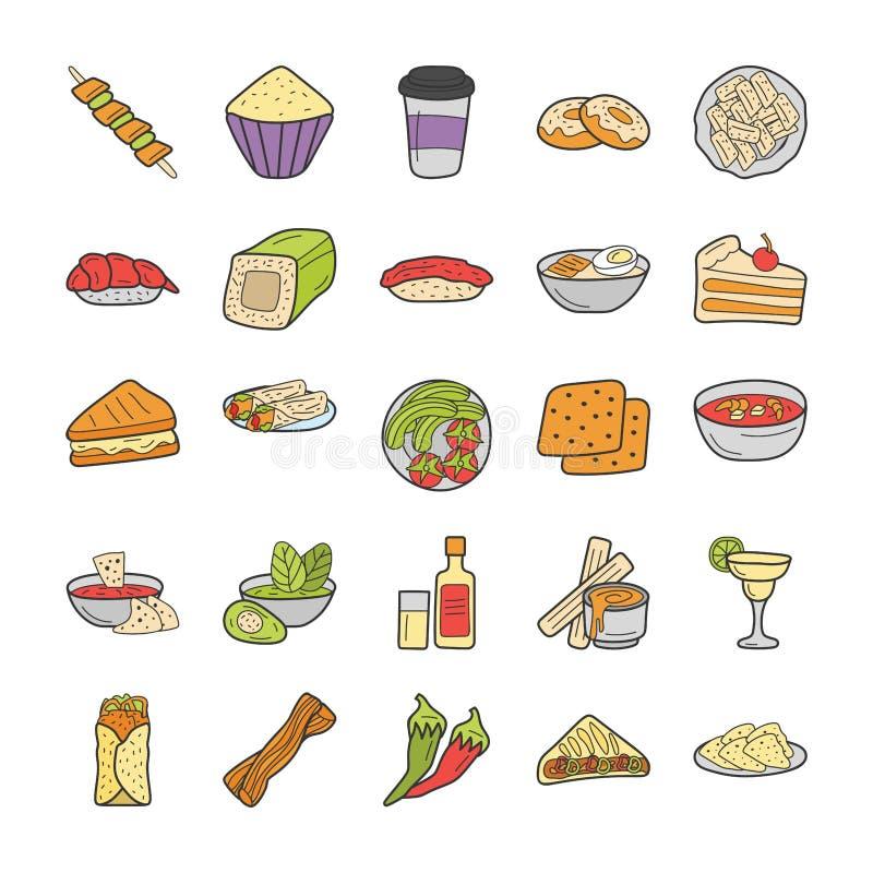 墨西哥和俄国食物烹调 库存例证