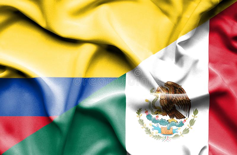 墨西哥和哥伦比亚挥动的旗子  库存例证