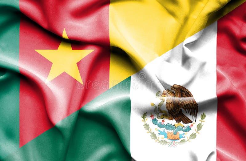 墨西哥和喀麦隆的挥动的旗子 向量例证