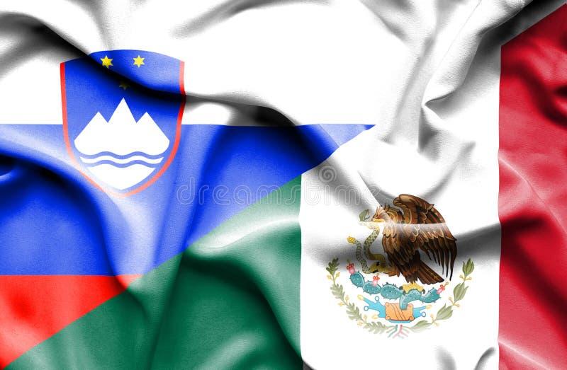 墨西哥和斯洛文尼亚的挥动的旗子 皇族释放例证