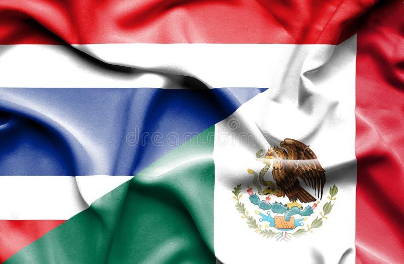 墨西哥和泰国的挥动的旗子 皇族释放例证