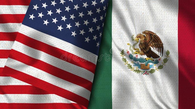 墨西哥和美国旗子- 3D例证两旗子 库存例证