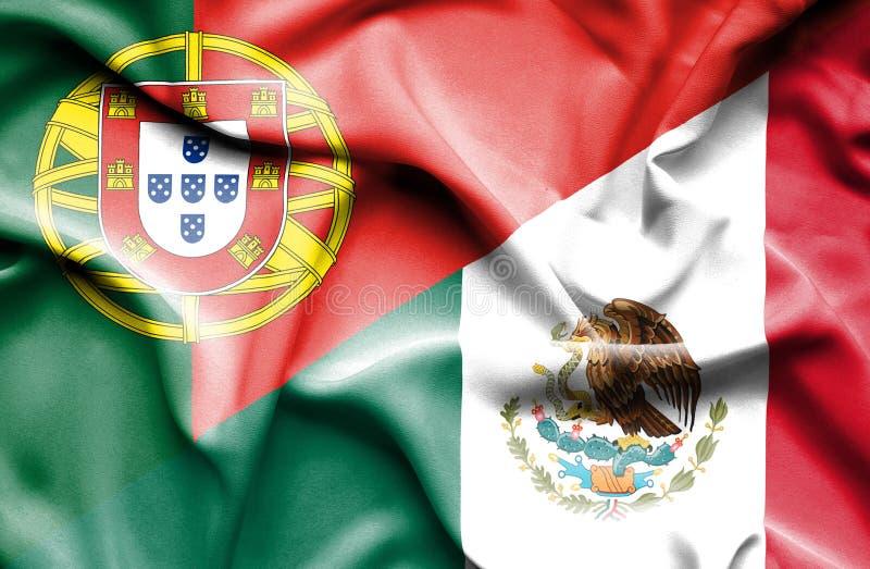 墨西哥和葡萄牙的挥动的旗子 库存例证