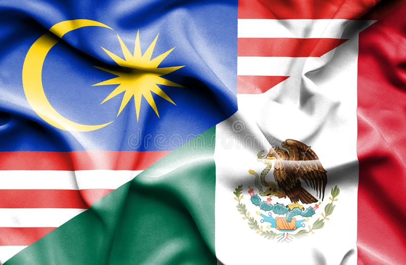 墨西哥和马来西亚的挥动的旗子 库存例证