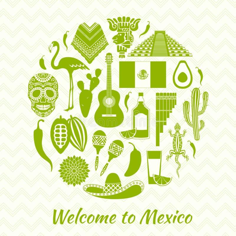 墨西哥国家标志的传染媒介剪影 向量例证