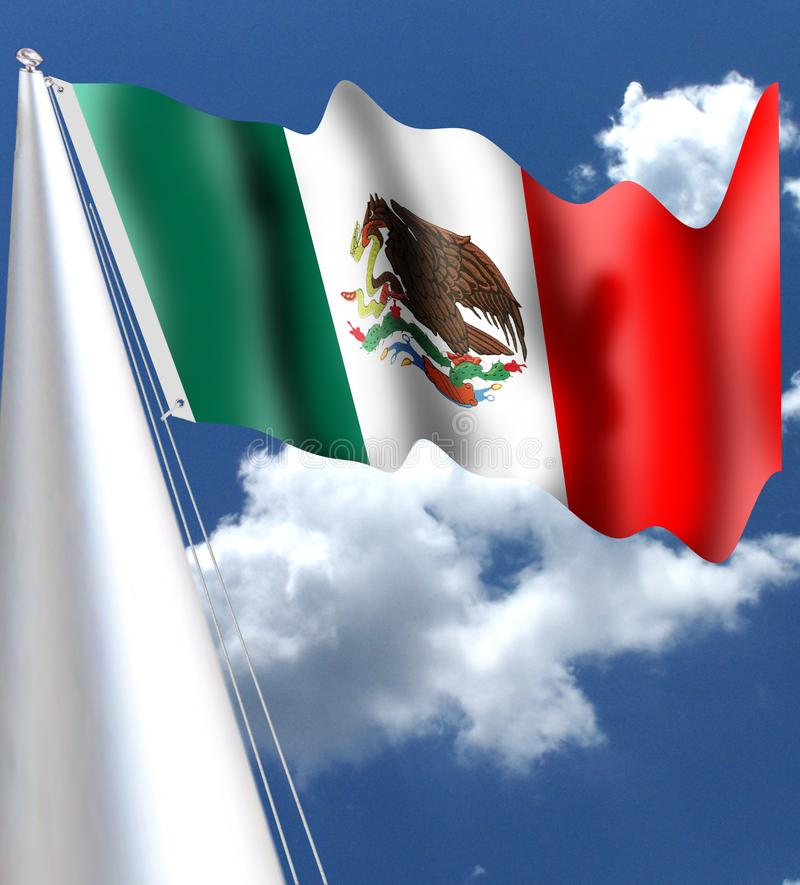 墨西哥国旗可以在法律的第3找到在全国胳膊的,下垂和专题歌,在1984年通过 当确切的树荫o时 向量例证