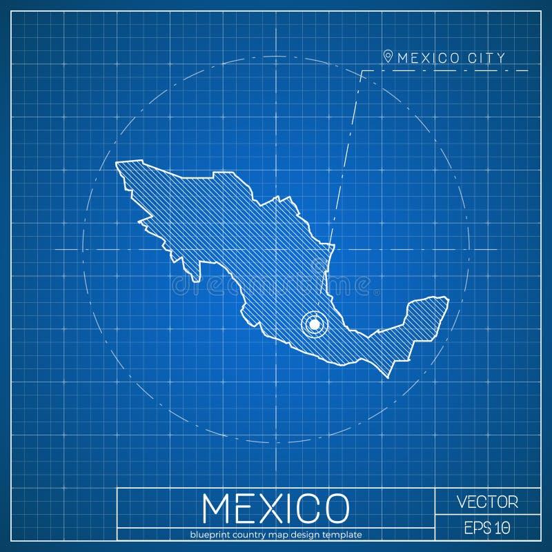 墨西哥图纸与首都的地图模板 库存例证