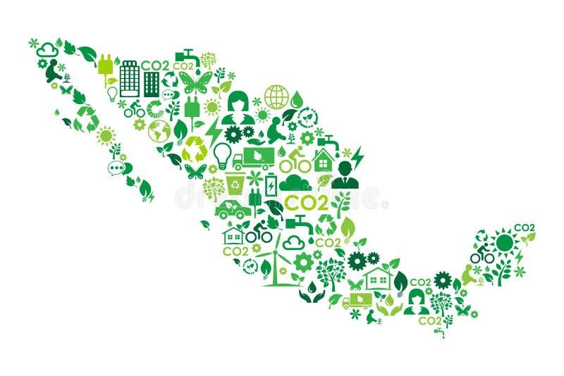 墨西哥地图环境保护绿色概念象 库存例证