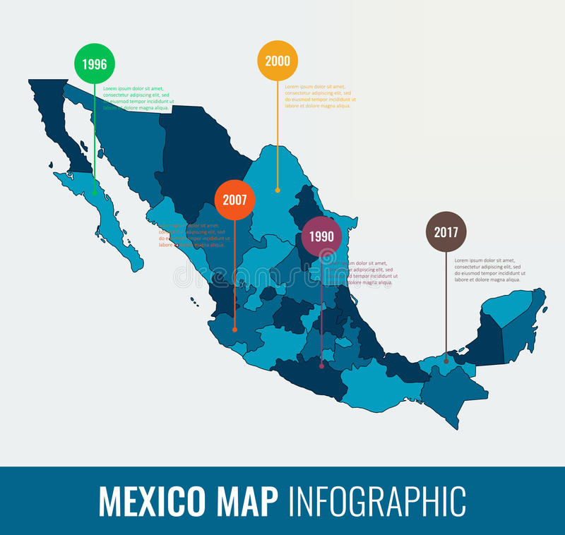 墨西哥地图infographic模板 所有地区是可选择的 向量 库存例证