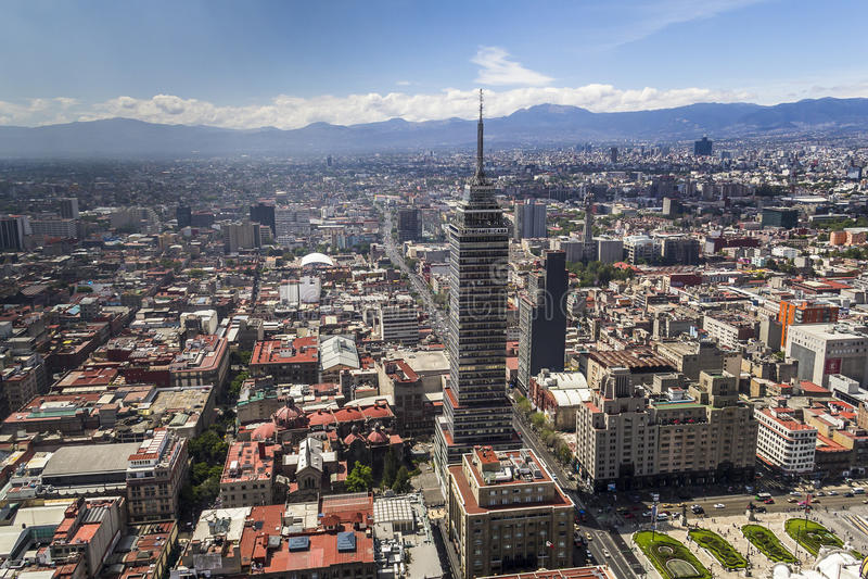 墨西哥城中心鸟瞰图  库存图片