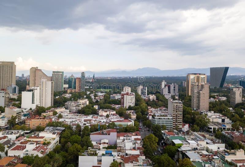 墨西哥城全景-波朗科Reforma 免版税库存照片