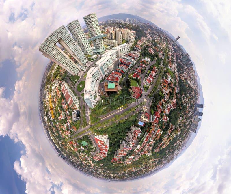 墨西哥城地平线-微小的世界作用 库存图片